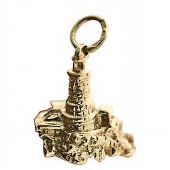 9ct الذهب 15x16mm المنارة الصلبة وقلادة روك أو سحر