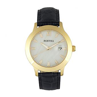 Bertha Eden Mother-Of-Pearl Leather-Band Watch w/Date - Black/Gold