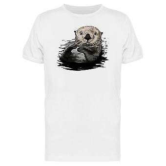 Otter In The Water Illustration Tee Men's -Image by Shutterstock