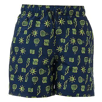 Junior Boys Speedo Printed 15 Swim Shorts In Navy Yellow-Ribbed Waistband-