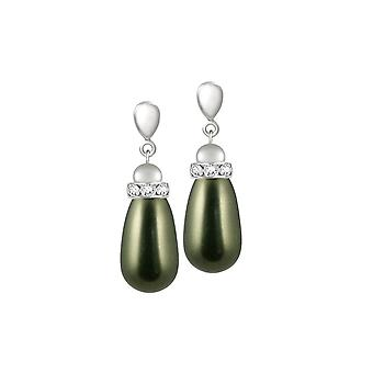 الأبدية جمع بومونت الزجاج الأخضر لؤلؤة المسيل للدموع الفضة لهجة قطرة مقطع على الأقراط