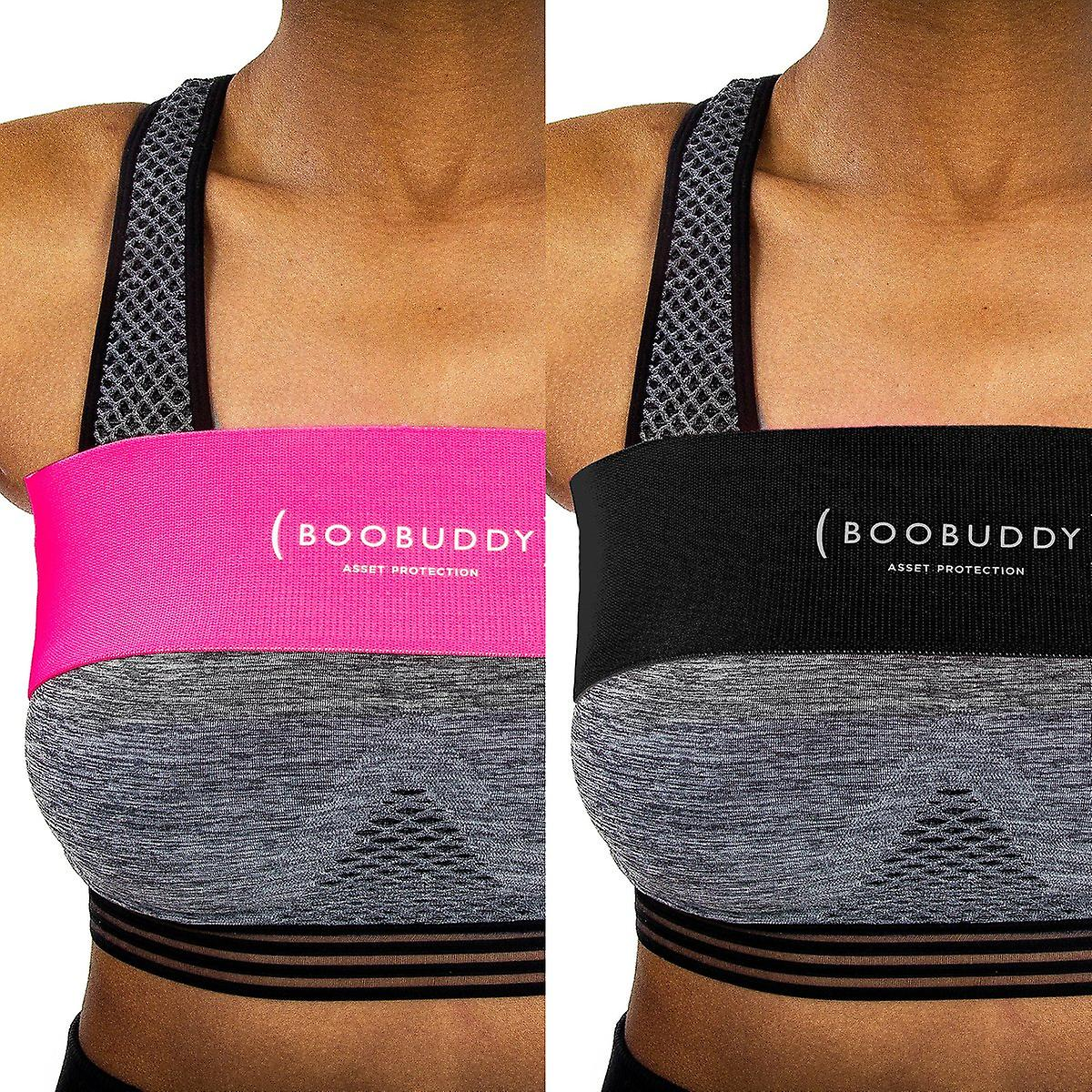 Boobuddy breast support band bundle – black & pink