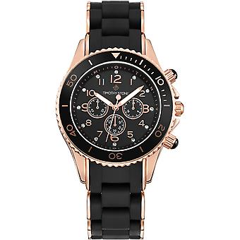 Timothy Stone Women's AMBER-SILICONE Black and Rose Gold-Tone Watch
