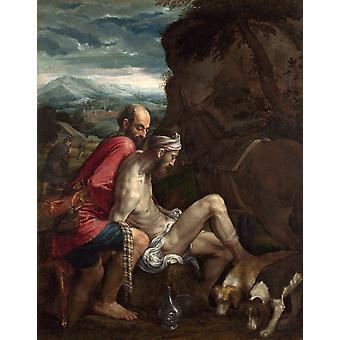 Den gode samaritan, Jacopo Bassano, 50x40cm