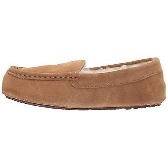 Amazon Essentials Women's Leather Moccasin Slipper, Chestnut, 7 M US