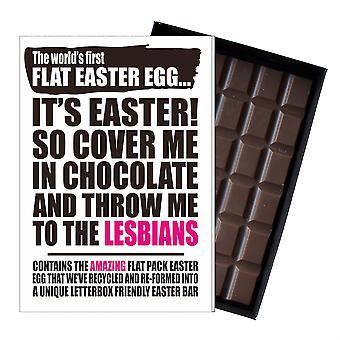 Funny Flat Easter Egg Chocolate Bar Greeting Card Gift LGBT Lesbian Gay Queer UK EIYF142