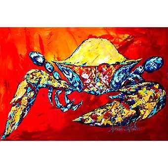 Carolines Schätze MW1208PLMT Bringen Sie es auf Krabbe in roten Stoff Placemat