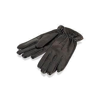 Ladies Brown Pin Tuck Leather Gloves