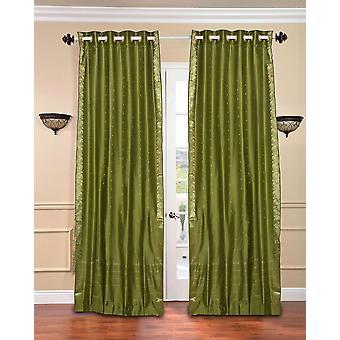 Verde oliva anello superiore Sari pura tenda / drappo / pannello - pezzo