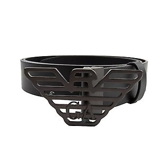 Emporio Armani Large Eagle Buckle Belt Black