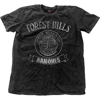 Ramones T Shirt Forest Hills Logo new Official Mens Black distressed Snow Wash