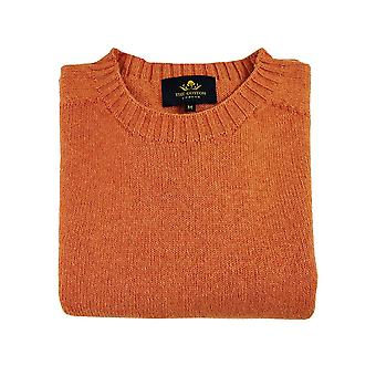 Wool x cotton blend crew neck jumper - amber