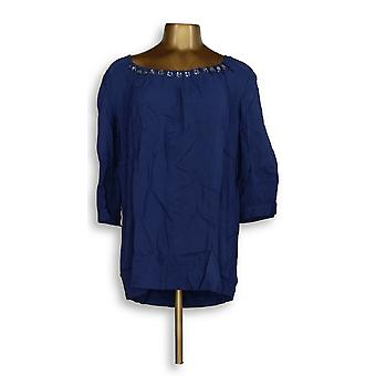 Motto 3/4 Sleeve Scoopneck Embellished Dk Indigo Blue Top A203065