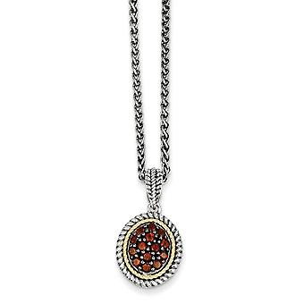 925 Sterling Silver Polished Prong set finish Lobster Claw Closure With 14k Garnet Necklace Jewelry Gifts for Women
