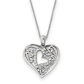 925 Sterling Silver polerad gåva Boxed Spring Ring Rhodium pläterad CZ Cubic Zirconia Simulerad Diamond Forever In My Lov