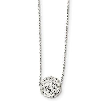 925 zilver gepolijst voorjaar ring wit Sworovski Crystal 10mm hanger ketting-18 inch