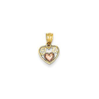 14k Two-Tone Polished Gold Rose Mini for boys or girls I Love U Pendant - Measures 13.8x9.2mm