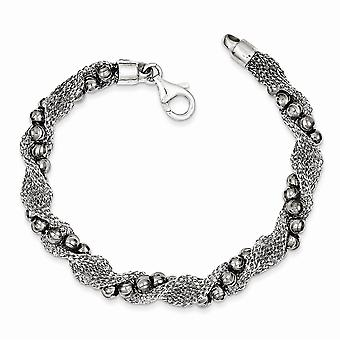 925 Sterling Silver and Ruthenium plated Bead And Mesh Fancy Bracelet 7.25 Inch Jewelry Gifts for Women