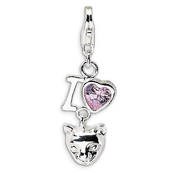 925 Sterling Silver Polished Rhodium plated Fancy Lobster Closure CZ Cubic Zirconia Simulated Diamond I Love Cats With L