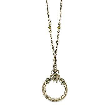 Fancy Hummer Stängning Burnished Mässing ton Olivine Green Crys förstoringsglas 30 tums halsband smycken gåvor för kvinnor