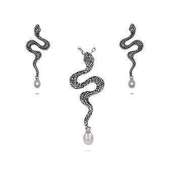 Prydnad kvinna hängsmycke och örhängen i Silver 925/1000 orm och pärlor av vatten d