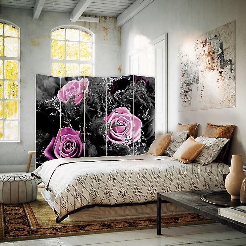 Diviseur de chambre, 5 panneaux, double-sided, toile, roses