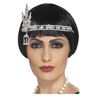 Flapper Jewel hoofdband, zilveren Fancy Dress accessoire