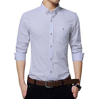 Allthemen الرجال & apos;ق الصلبة القطن مزيج الأعمال عارضة طويلة الأكمام قميص 6 ألوان
