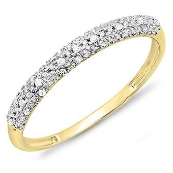 Dazzlingrock Collection 0.10 Carat (ctw) 10k Round Diamond Ladies Anniversary Wedding Band Stackable Ring 1/10 CT, Yellow Gold
