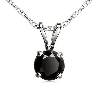 Dazzlingrock Collection 6 mm Round Cut Black Sapphire Ladies Solitaire Pendant (Silver Chain Included), Sterling Silver