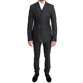 Gray Wool Silk Stretch Slim Fit Suit