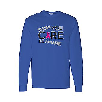 "Men's ""Show you Care be Aware"" BREAST CANCER Long Sleeve TEE"