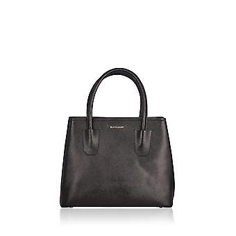Lorton Large Leather Triple Pocket Tote in Black
