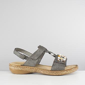 Rieker 628d7-45 Ladies touch Fastgør Forskønret sandaler røg