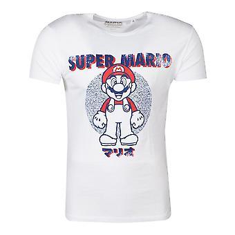 Nintendo Super Mario Bros. anatomi Mario T-skjorte unisex X-Large hvit