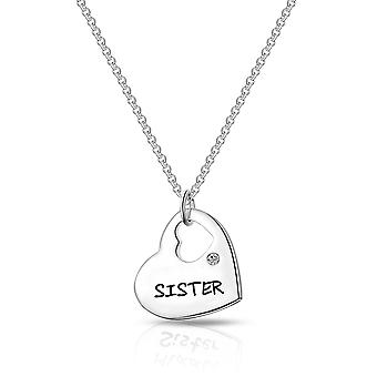 Sister heart necklace created with swarovski® crystals