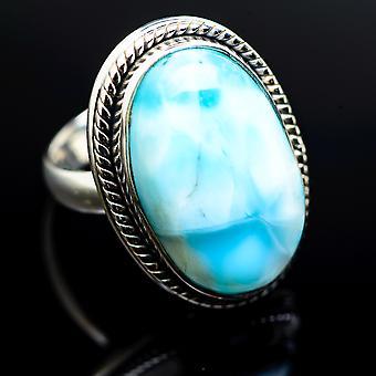 Larimar Ring Size 6.25 (925 Sterling Silver)  - Handmade Boho Vintage Jewelry RING983047