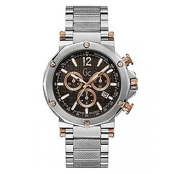 Montre GC Y53005G2MF - SPIRIT Bo�tier acier brillant et bross� cadran noir avec d�tails dor� rose chronographe bracelet acier brillant et bross�  Homme