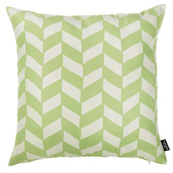 Lime Green and White Geo Decorative Throw Pillow Cover