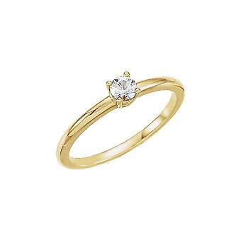 14k Yellow Gold Diamond Polished 0.1 Dwt Diamond Youth Ring Size 6.5 Jewelry Gifts for Women
