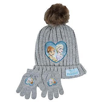 Disney Frozen 2 Tyttö & Faux Fur Bobble Hat & Käsine Set