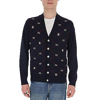 Gucci 597741xka4i4206 Men's Blue Wool Cardigan