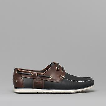 Barbour Capstan Mens Leather Boat Shoes Navy/brown