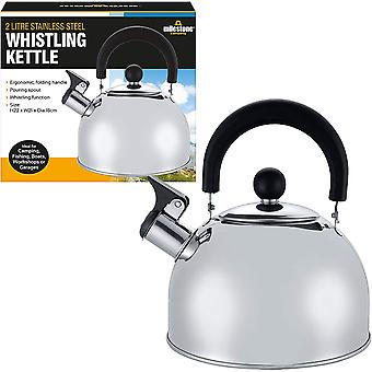 Milestone Stainless Steel Whistling Camping Kettle Silver 2L