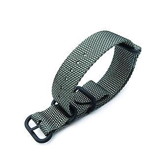 Strapcode n.a.t.o klokke stropp miltat 22mm tykk 3 ringer honeycomb zulu bullet tail militær grønn nylon watch band, pvd svart