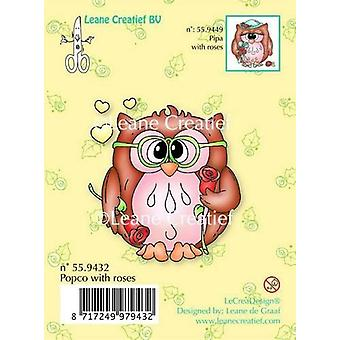 LeCrea - Clear stamp Owl Popco with roses 55.9432