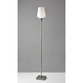 Brushed Steel Floor Lamp With White Opal Wine Glass Shade