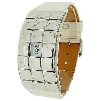 Zaza London Ladies White Extra Small Dial Silver Mirror & White PU Strap Watch