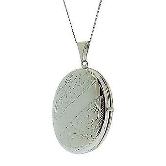 TOC en argent Sterling 9gr photo 4 ovale gravé collier 18