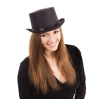 Top Hat. Sort, Satin Look